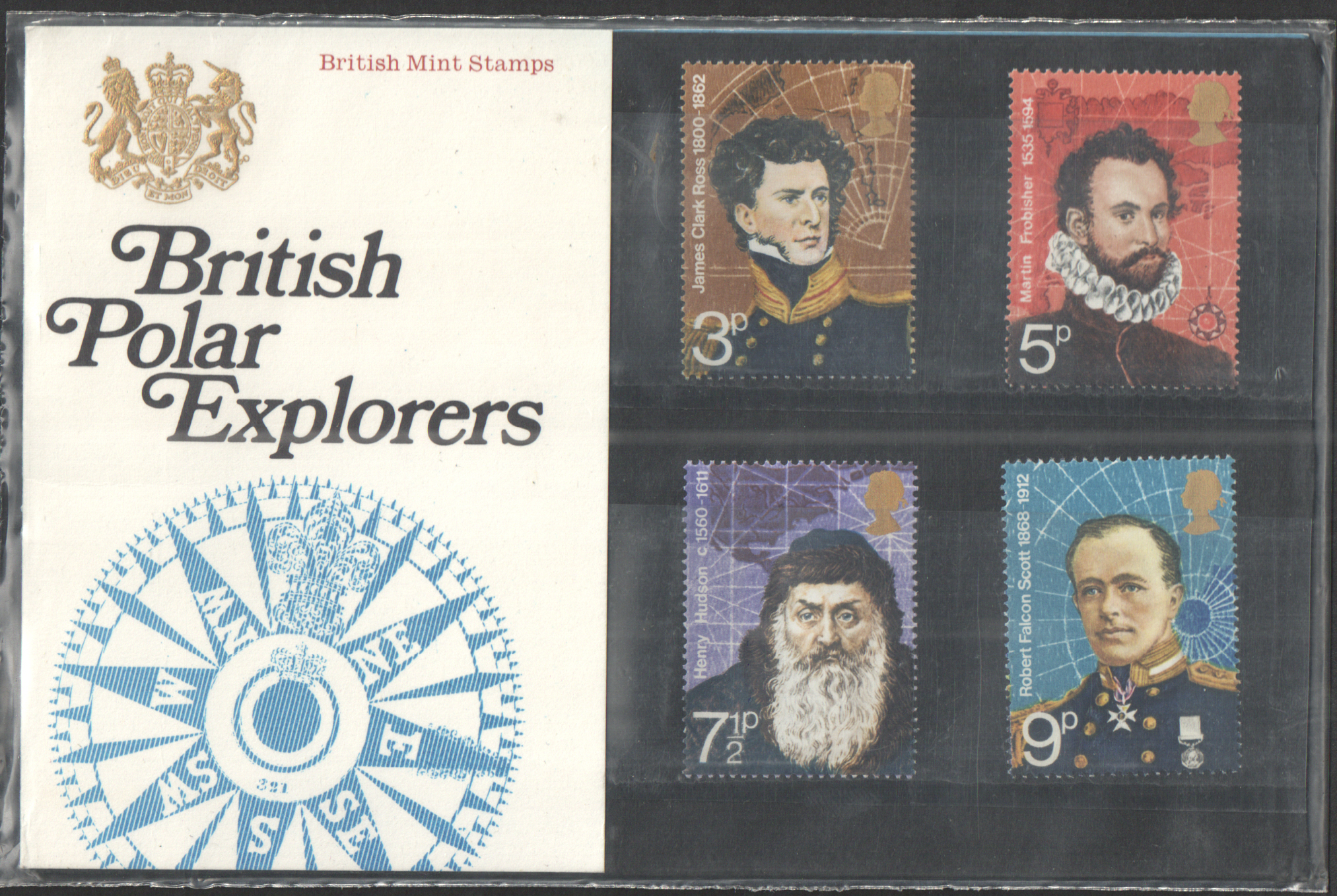 1972 Polar Explorers Type C - Decorative Crown, Flower Visible Royal Mail Presentation Pack 39