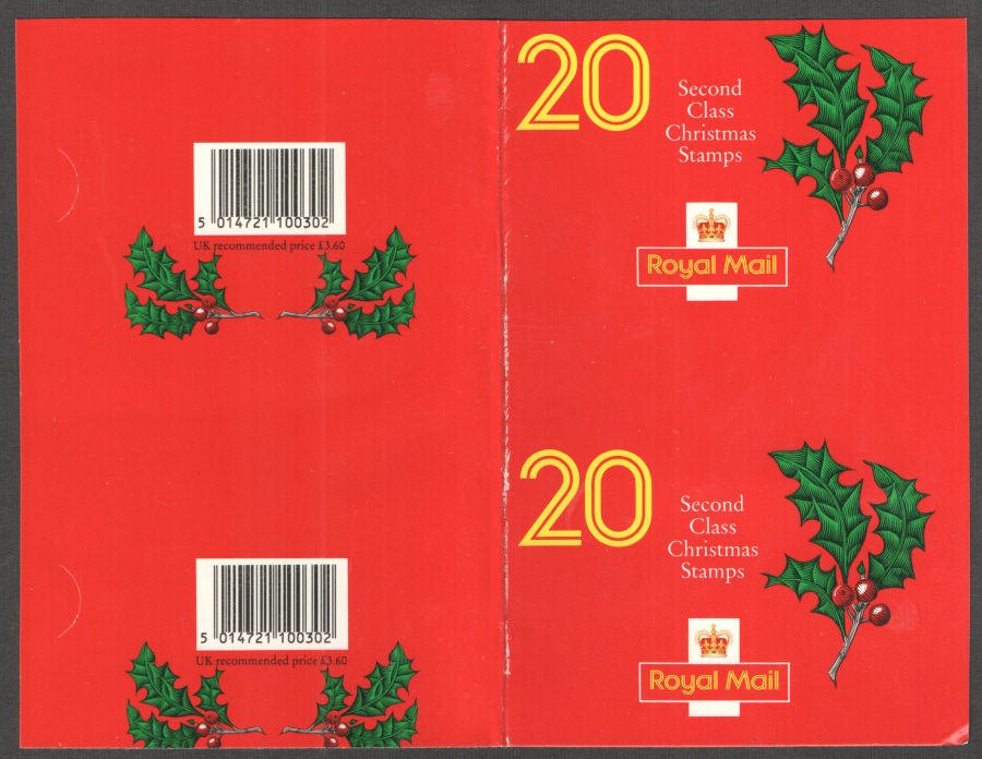Uncut Pair of LX2 / DB12(5) 1991 20 x 18p Christmas Booklet Covers