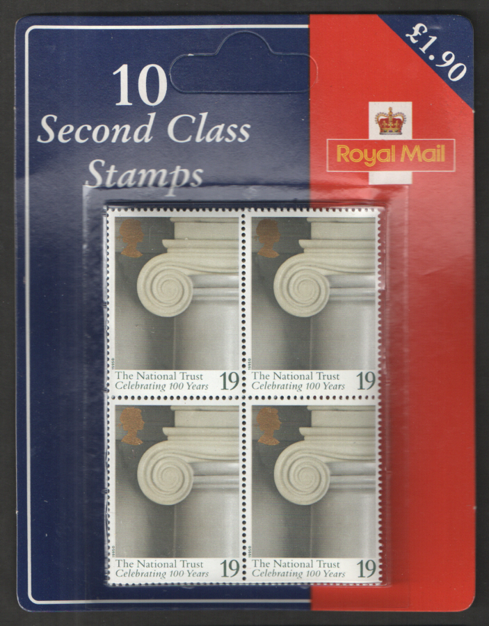 1995 National Trust 10 x 19p Royal Mail retail pack