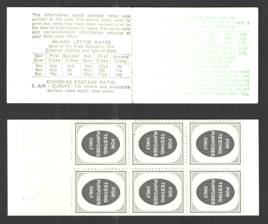 "1974 Folded Machine Test Booklet with pane of 6 ""For Testing Purposes Only"" Poached Egg Stamps"