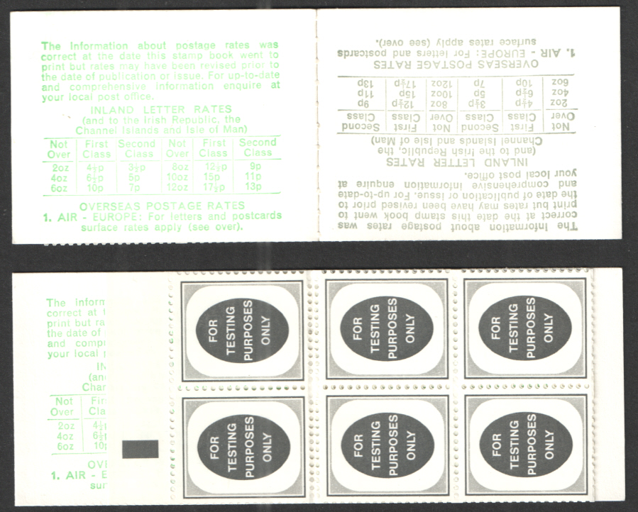 "1974 Folded Machine Test Booklet with pane of 14 ""For Testing Purposes Only"" Poached Egg Stamps. Black Bar in selvedge."