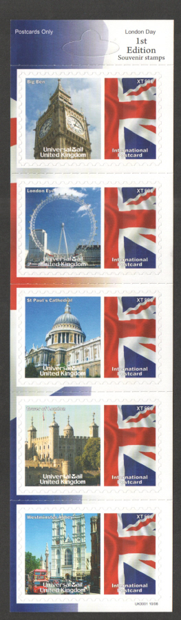 UK0001 London Day Universal Mail Stamps Dated: 10/08