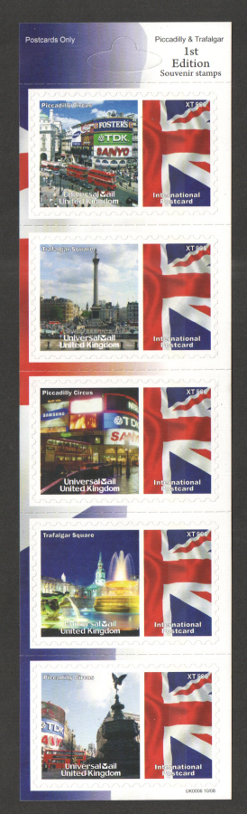 UK0006 Piccadilly & Trafalgar Universal Mail Stamps Dated: 10/08