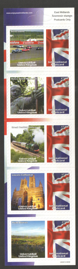 UK0013 East Midlands Universal Mail Stamps Dated: 05/09