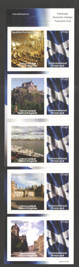 UK0019 Edinburgh Universal Mail Stamps Dated: 05/09