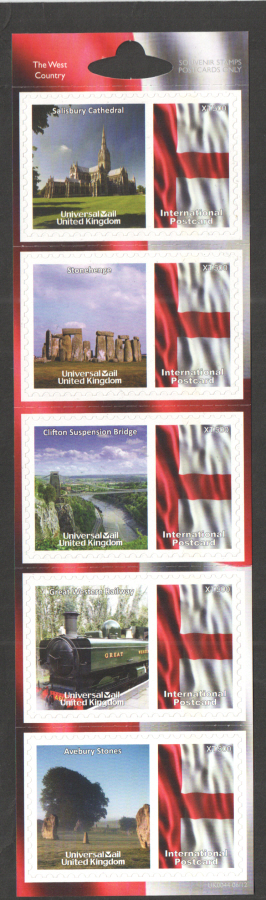 UK0044 The West Country Universal Mail Stamps Dated: 06/12