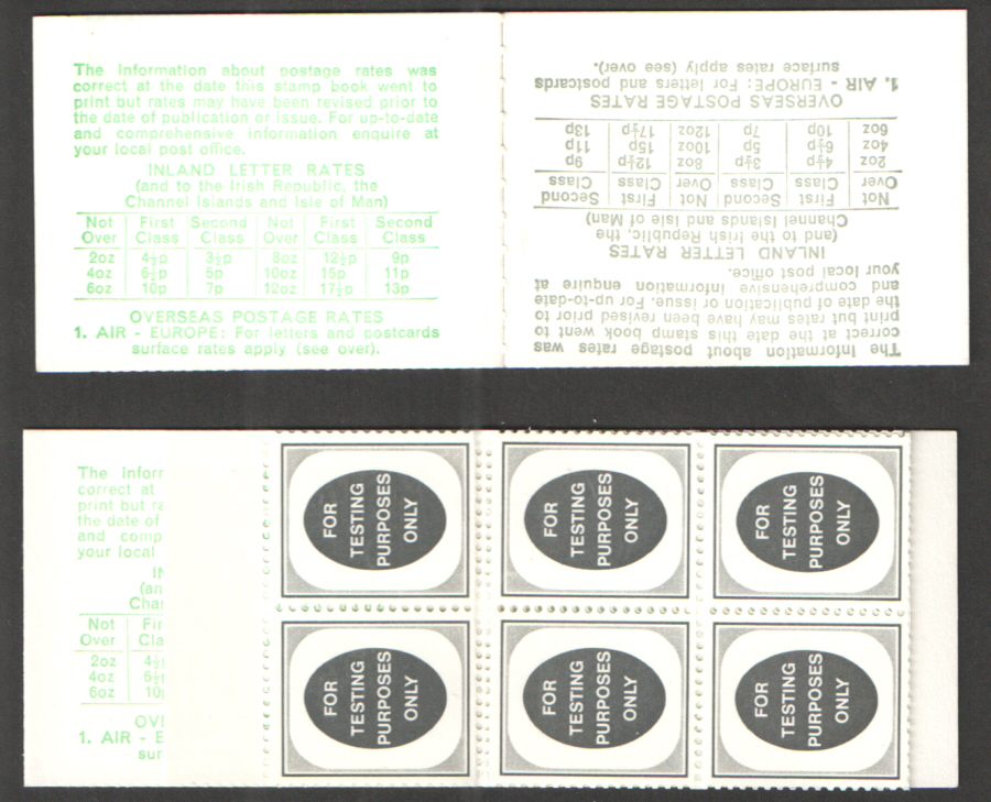 "1974 Folded Machine Test Booklet with pane of 14 ""For Testing Purposes Only"" Poached Egg Stamps"