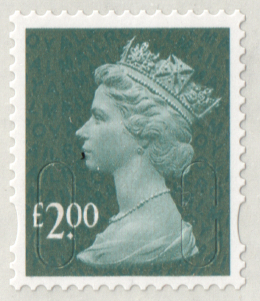 2009 £2 Slate Blue Cyl D1 Col. 1 Row 2 No Date Code Machin Cylinder Block