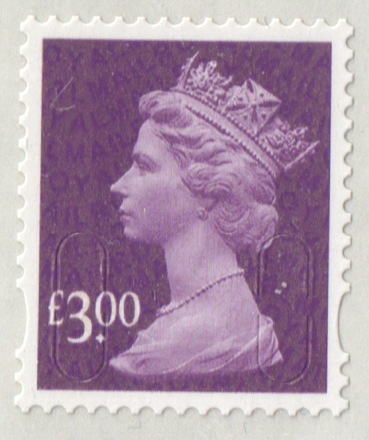 2009 £3 Purple D1 D1 (D1) Col 1 Row 1 Machin Cylinder Block