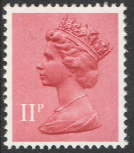 1976 11p Pastel Red FCP(H) / DEX Cyl 4 (17) dot Decimal Machin Cylinder Block