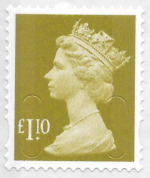 2011 £1.10 Lime Green M11L Col. 2 Row 2. D1 Machin Cylinder Block