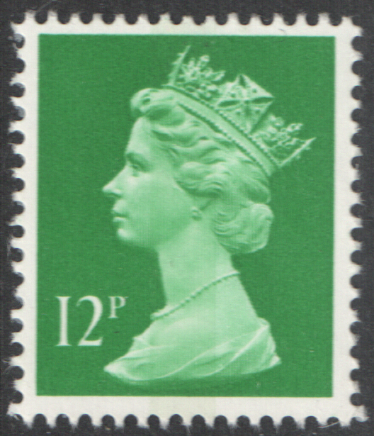 1985 12p Emerald Green No Underprint FCP(H) / DEX Cyl 12 (18) no dot Decimal Machin Cylinder Block
