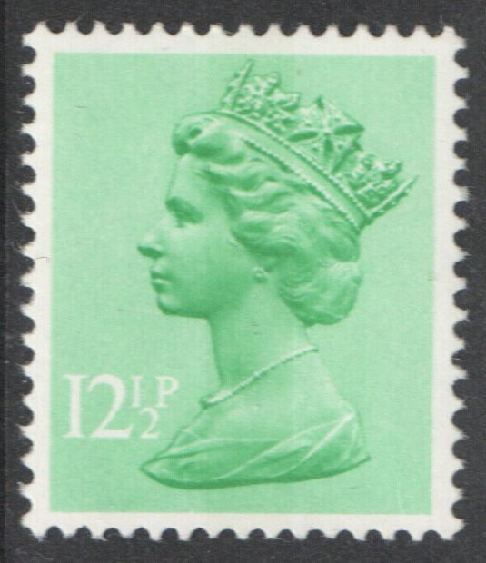 1982 12.5p Pastel Green FCP(H) / DEX Cyl 1 (31) no dot Decimal Machin Cylinder Block