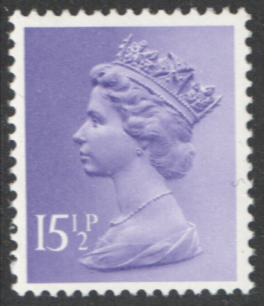 1981 15.5p Light Violet PCP1 / DEX Cyl 3 dot Decimal Machin Block