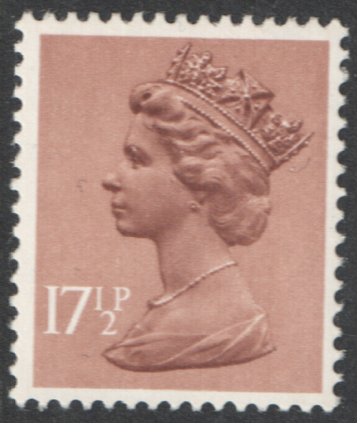1980 17.5p Light Brown PCP1 / DEX Cyl 1 dot Decimal Machin Block