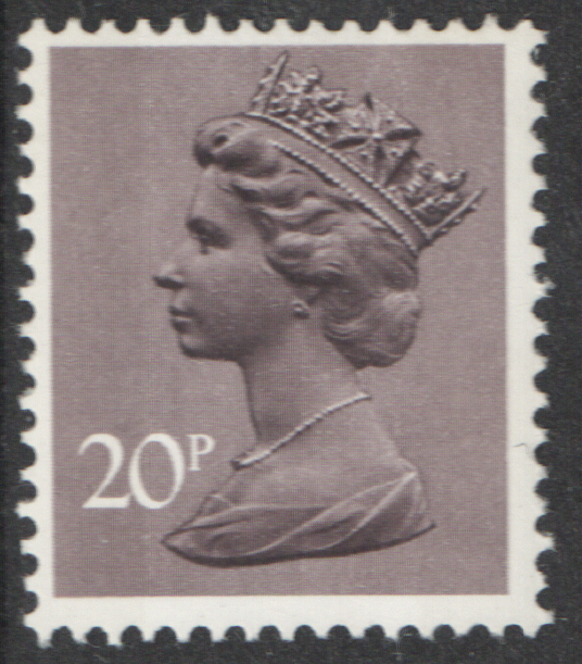 1976 20p Purplish Grey FCP(H)/DEX Cyl 4 (P21) dot Decimal Machin Block