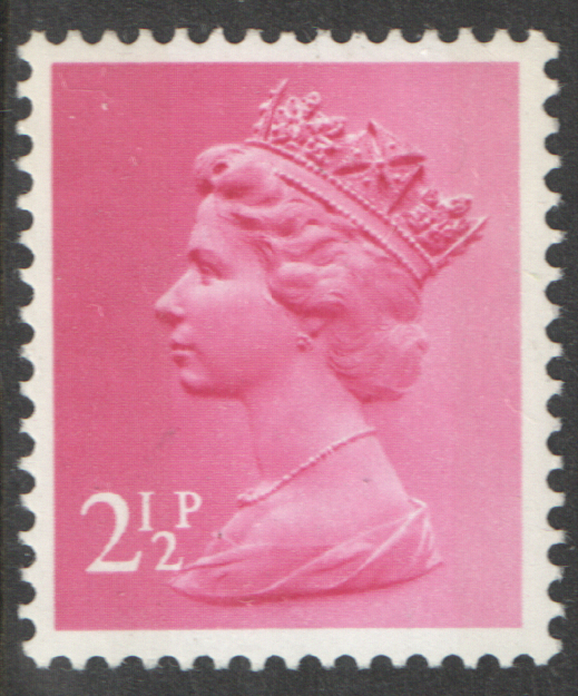 1975 2.5p Pale Magenta FCP(H) / DEX 2 Bands Cyl 19 (17) no dot Machin Cylinder Block