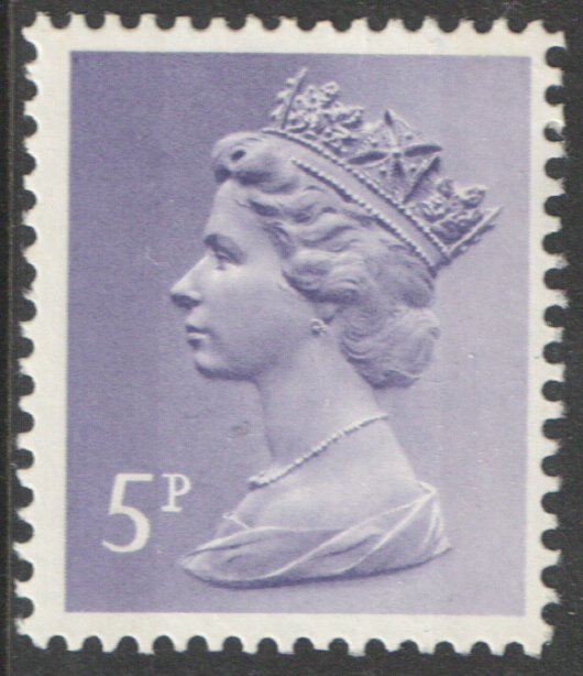 1974 5p Greyish Violet FCP(H) / DEX Cyl 8 (17) dot perf RE Machin Cylinder Block