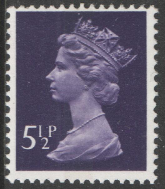 1975 5.5p Deep Violet Centre Band FCP(H) / DEX Cyl 4 (20) no dot Machin Cylinder Block