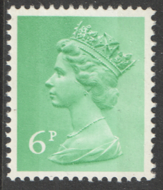 1971 6p Pastel Green OCP(H) / PVAl Cyl 1 (-) no dot Machin Cylinder Block