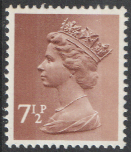 1971 7.5p Pale Chestnut OCP(H) / PVAl Cyl 1 (L2,S2) dot Machin Cylinder Block of 8