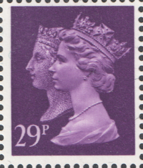 1990 29p Dp Mauve Cyl 1 no dot Penny Black Anniversary Machin Cylinder Block