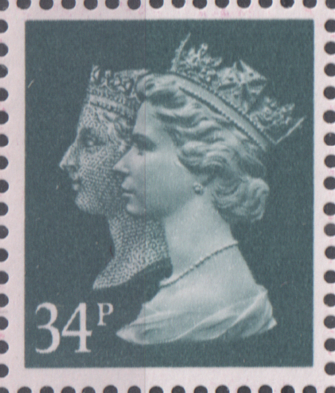 1990 34p Dp Bluish Grey Cyl 1 no dot Penny Black Anniversary Machin Cylinder Block