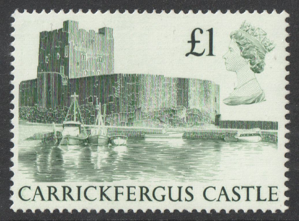1988 Harrison Castle £1 Green Plate 1J Block of 4