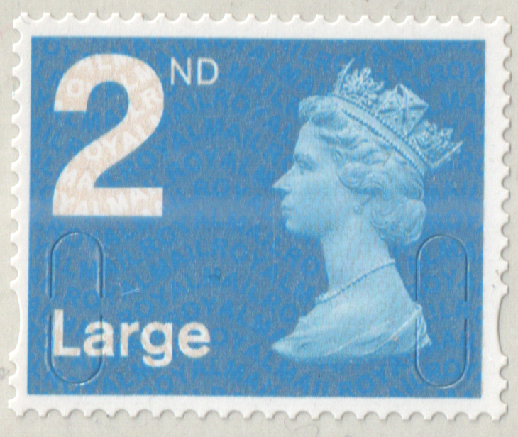 2009 2nd Class Large Light Blue De La Rue No Date Code Cylinder D1 C1R2 block of 6