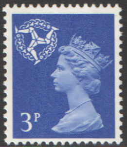 1971 Isle of Man 3p Ultramarine OCP(H)/PVAl Cyl 1(4) no dot cylinder block