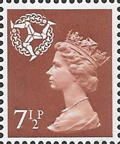 1971 Isle of Man 7.5p Pale Chestnut OCP(H)/PVAl Cyl 4(10) no dot cylinder block