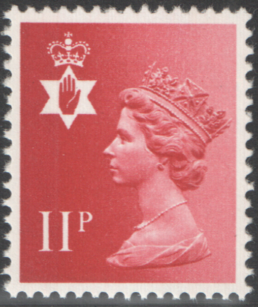 1976 Northern Ireland 11p Pastel Red FCP(H)/DEX Cylinder 1 (17) no dot block of 6