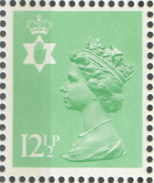 1982 Northern Ireland 12.5p Pastel Green FCP(H)/PVAl Cylinder Q1 Q1 block