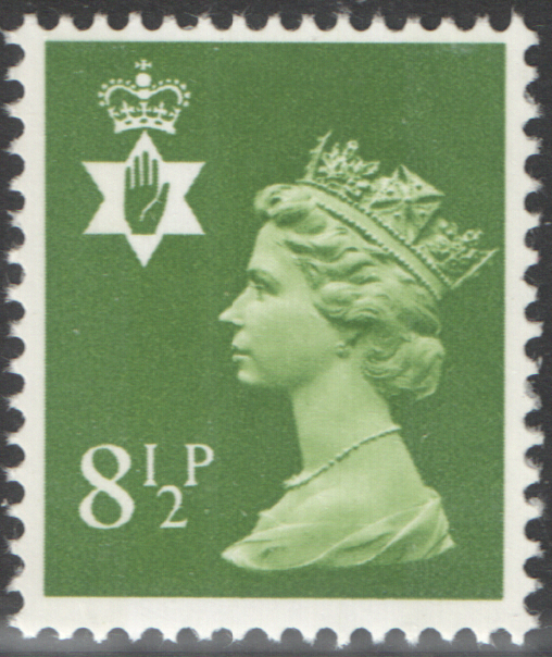 1976 Northern Ireland 8.5p Yellowish Green FCP(H)/DEX Cylinder 1 (17) no dot block of 6