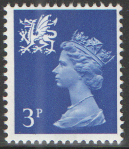 1973 Wales 3p Ultramarine 2 Bands FCP(H)/PVAl Cylinder 1(7) no dot block of 6