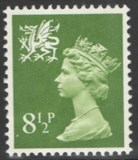 1976 Wales 8.5p Yellowish Green FCP(H)/DEX Cylinder 1(21) dot block of 6