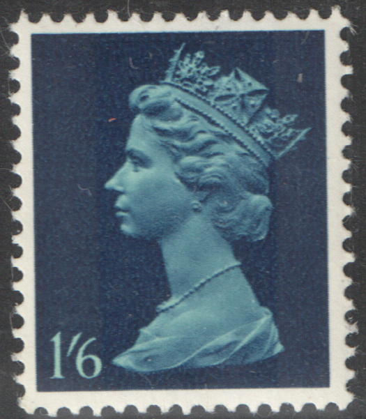 1968 1/6 Turquoise & Garter Blue Cylinder 3A 2B PVA Pre-Decimal Machin Block of 6