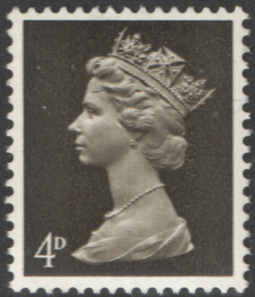 1968 4d Olive Sepia Cylinder 14 No Dot 2-Bands PVA Pre-Decimal Machin Block of 6