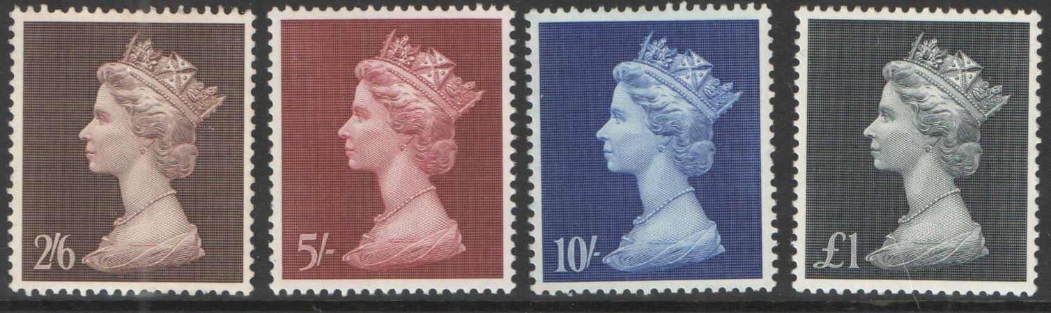 SG787 / 90 1969 Pre-Decimal High Value Recess Machins unmounted mint set of 4