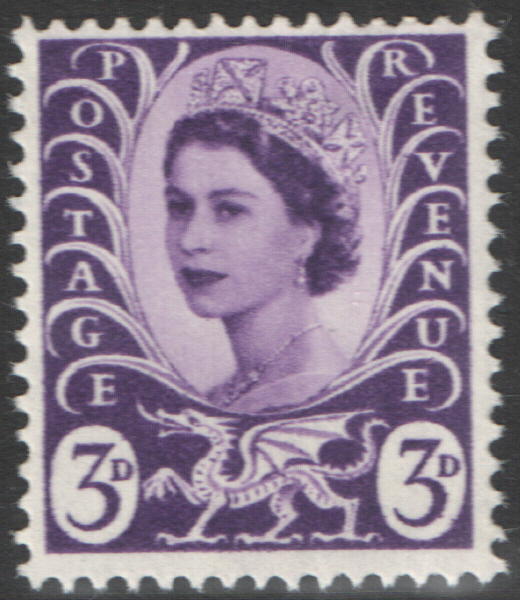 1967 Wales 3d Deep Lilac Centre Band Cylinder 3 no dot block of 6