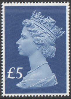 2017 £5 Sapphire Blue Cyl W1 Col 2 Row 2 cylinder block of 4