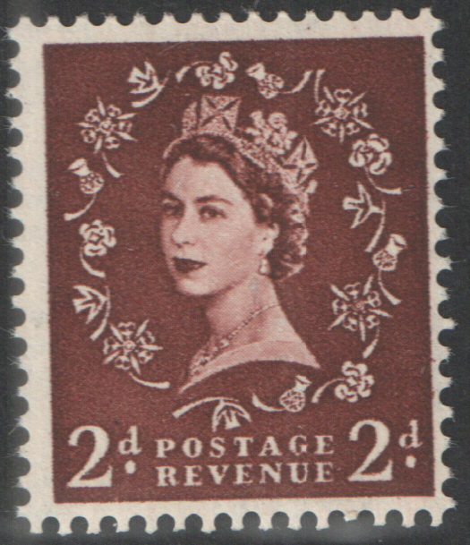 S36 2d Red Brown Tudor Crown Watermark Cylinder 1 Dot Block of 6