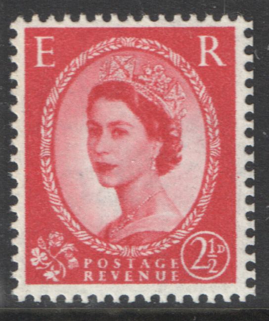 S50 2.5d Carmine Red Tudor Crown Watermark Cylinder 7 No Dot Block of 6