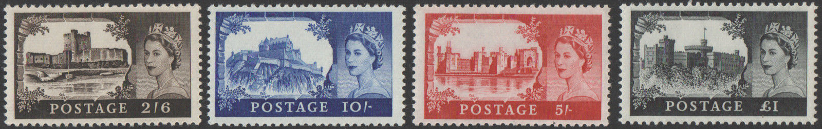 SG759 / 62 No Watermark High Value Castles. Unmounted mint set.