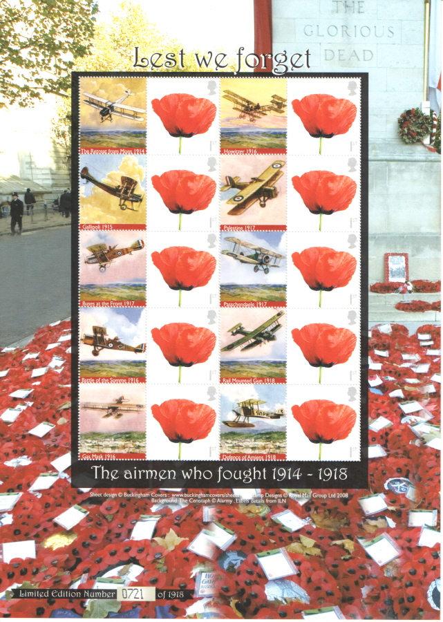 BC-185 2008 Lest we forget The Airmen who fought 1914-1918 Business Smilers Sheet