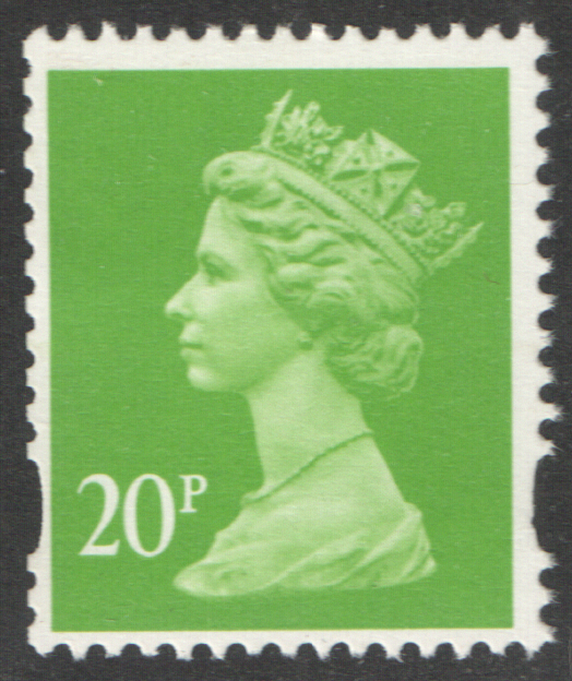 SG Y1772Ey Phosphor Omitted 20p Bright Yellow Green Machin